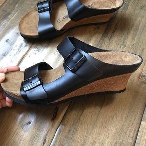 Birkenstock papillio Emina Black wedge sandals 37
